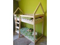 Children's house bunk bed 90x190 no mattress