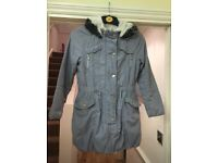 Next girls 9-10 years grey hooded coat