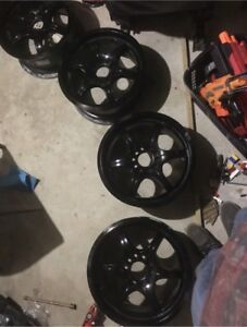 """16"""" universal 5 bolt rims with winter tires"""