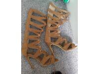 Lace up gladiator heels size 5