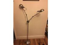 Habitat double head brushed metal floor lamp