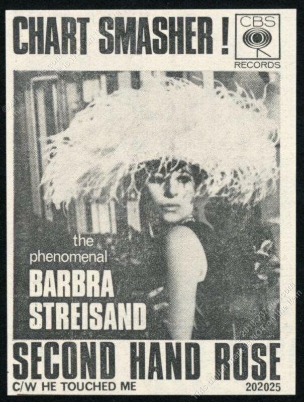 1966 Barbra Streisand photo Second Hand Rose record scarce UK vintage print ad