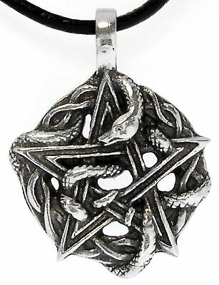PENTAGRAM SNAKE Silver Pewter Pendant Leather Necklace Pentagram Silver Pewter Pendant