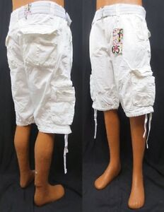 Men's FOCUS white orange khaki red cargo shorts size 32 34 36 38 40 42 x 13 belt