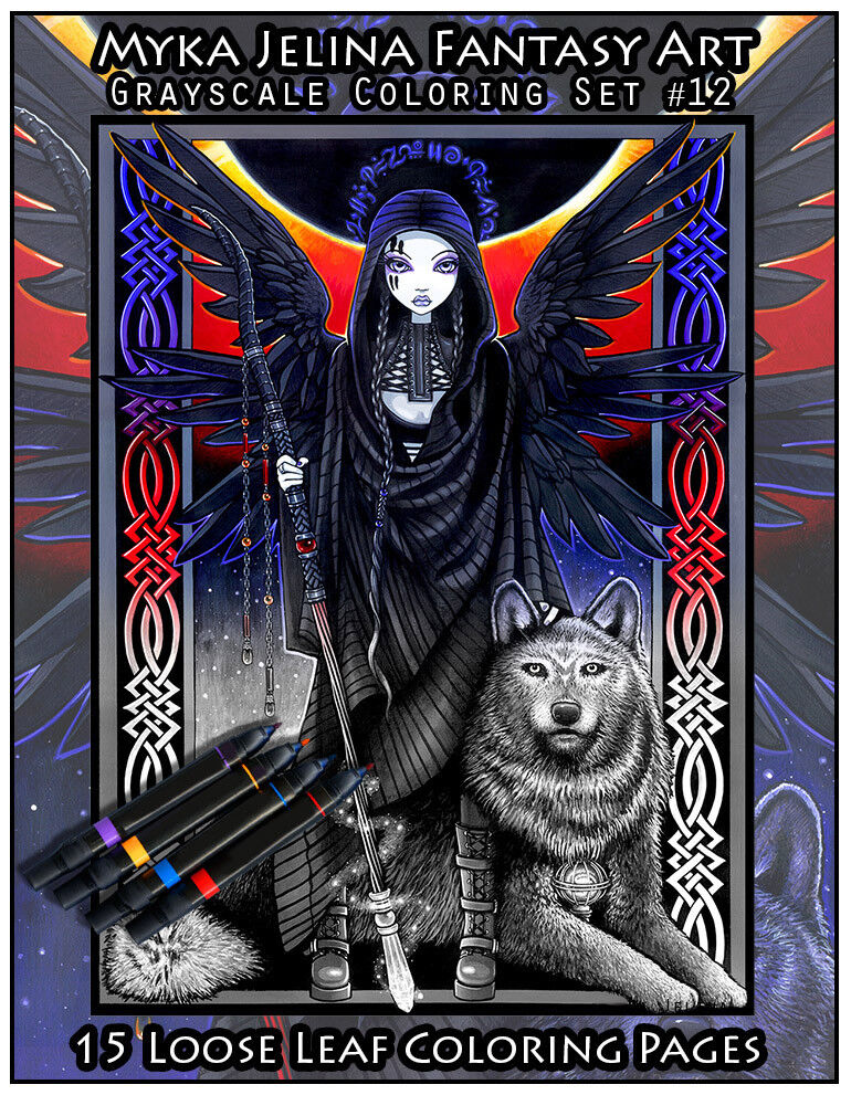 Fantasy, Mythical & Magic Collectibles Myka Jelina Art Coloring Pages  Gothic Fairy Classic Collection Grayscale Set6