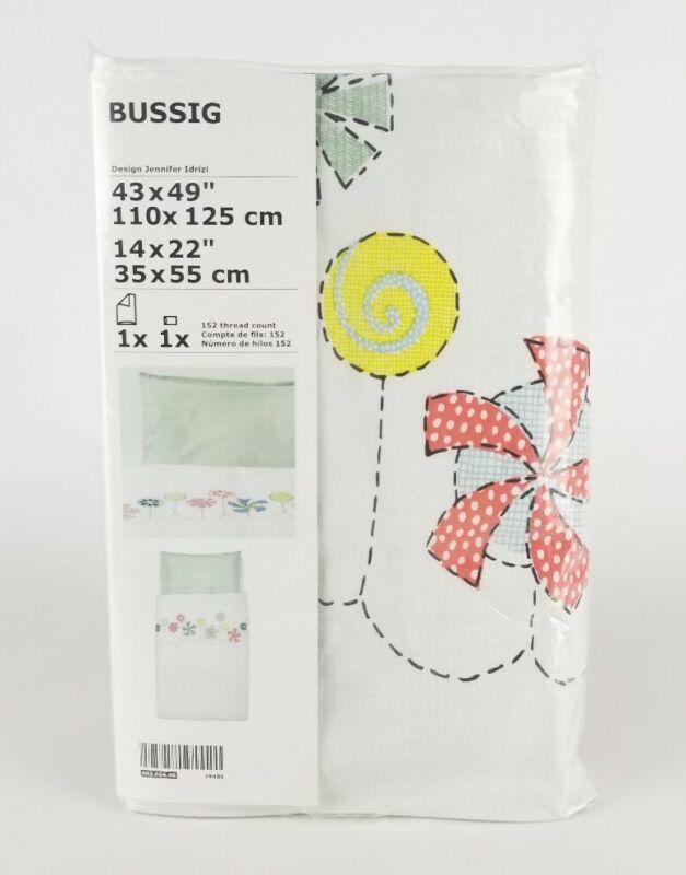 "Bussig Crib Duvet Cover/ Pillowcase, Multicolor, White & Green, 43x49"" Kids New"
