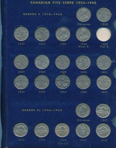 CANADIAN NICKELS 1922-1966 SET-WHITMAN ALBUM-52 COINS-SOME UNCIRCULATED-FREE S/H
