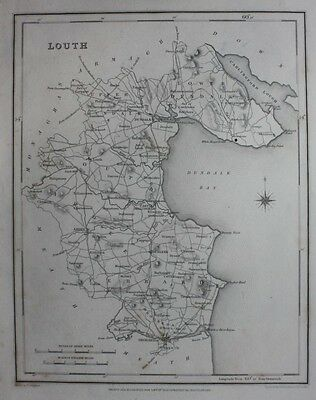 Original antique county map IRELAND, LOUTH, Lewis, Creighton, Dower, 1837