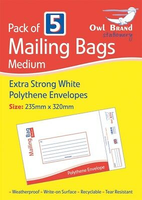 Pack of 5 Medium Extra Strong White Polythene Envelopes Postal Mailing Bags New