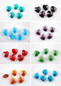 10mm-Charms-Heart-Faceted-Glass-Crystal-Earring-Findings-Pendant-Beads-Colors