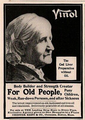 1905 Vinol Cod Liver Tonic Oil Old People Chester Kent Health Print (Liver Peoples)