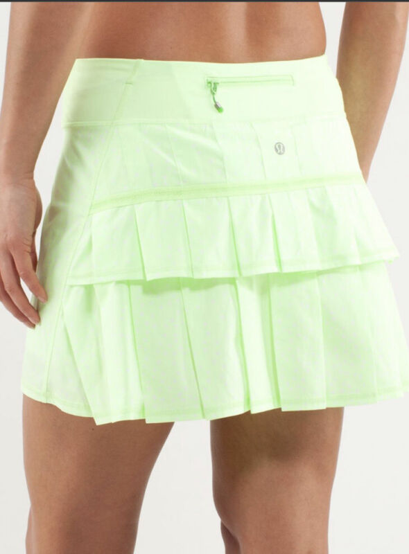 Lululemon Pace Setter Skirt Sz 6 Neon Polka Dot Ruffle Skirt Tennis HTF Color