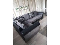 Ex Display Grey & Black Fabric Corner Sofa & Cuddle Chair Can Deliver Anywhere Same Day