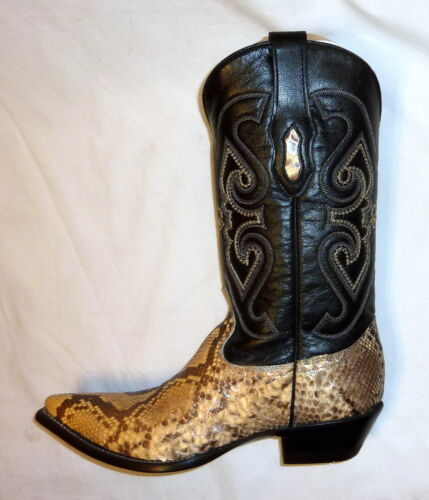 Corral, C1805, Sz, 7.5D, Mens, Python, Snakeskin, Leather, Cowboy, Western, Boots, NATURAL