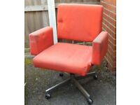 retro vintage 60`s orange and steel swivel computer perfect restoration project