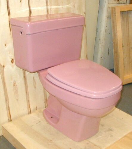 Eljer Rose (Pink) Toilet, Vintage, Two-Piece with Rectangular Bowl, w/ seat+lid