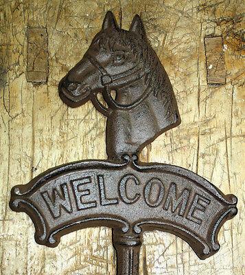 Cast Iron HORSE HEAD WELCOME Sign Garden Stake Home Decor Plaque Western -