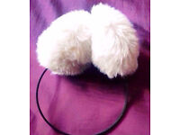 Ladies Champagne Cream Coloured Faux Fur Ear Muffs Protectors.
