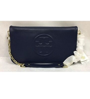NWT Authentic Tory Burch Bombe Reva Black Leather Clutch Shoulder Bag MSRP $350