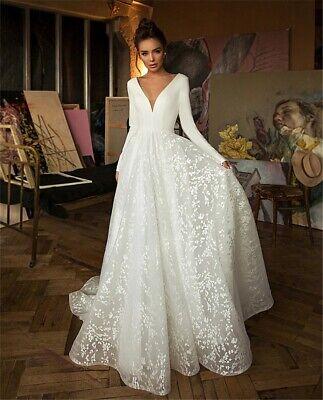 Long Sleeve V-neck Boho Bridal Gowns Backless Plus size Wedding Dresses  Long Sleeve Bridal Dresses