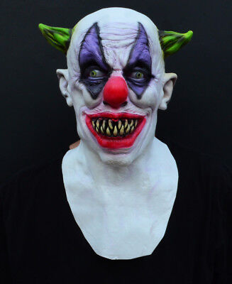 Creepy Evil Scary Halloween Clown Mask Rubber Latex GREEN HORNED CLOWN - Latex Clown