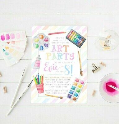 Art Themed Birthday Party (Printable Girl's Birthday Invitation Art Craft Party Theme Digital File)