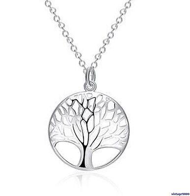 074  Damen Halskette mit Anhänger Lebensbaum 925 Silber Pl Glanz NEU