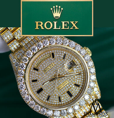 Rolex Day Date II President 41mm 18K Yellow Gold with Custom Diamond Men's Watch