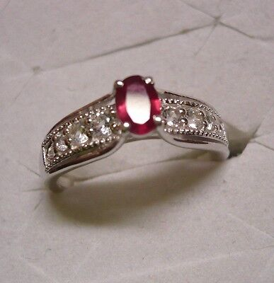 DAILY DEALS~~Ruby & White Topaz Ring Sz.7  7 gemstones  .88tcw MSRP$349