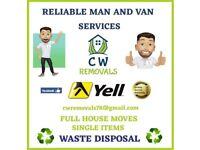 Man&van house flat office removals storage moves skip garden clearance waste rubbish tip runs