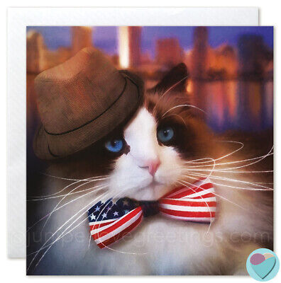 Cat Card BLANK Any Occasion US New York Note to or from Ragdoll Cat lover *SALE* Rag Doll Note Cards