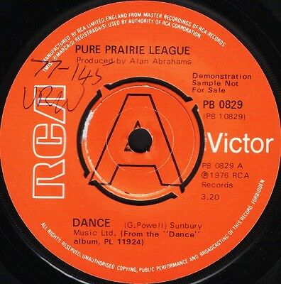 "PURE PRAIRIE LEAGUE dance/help yourself PB 0829 DEMO uk rca 1976 7"" WS EX/ wol"