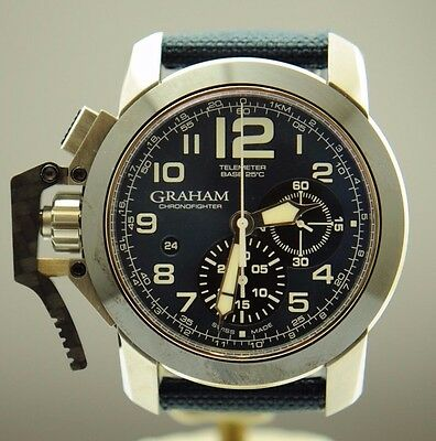 GRAHAM CHRONOFIGHTER STAINLESS STEEL BLUE DIAL CANVAS BAND 47MM MENS WATCH