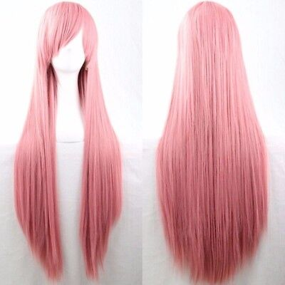 Pink 80cm Women Long Straight Hair Wig Fashion Costume Party Anime - Pink Hair Costume