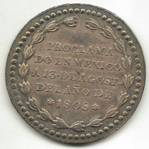 Fernando Vii 8 Reales 1808 Currency / Medal Proclamation Mexico @ No Circular