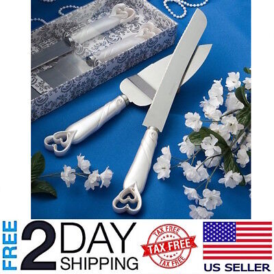 Wedding Cake Server Set Hearts Design Cake Knife Stainless Steel Blade Cutter