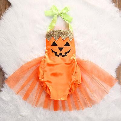 Cute Newborn Infant Baby Girls Halloween Jumpsuit Bodysuit Dress Costume Outfit