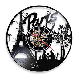 Paris Skyline Wall Clock Eiffel Tower Vinyl Record Wall Clock France Parisian