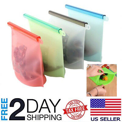 Used, 4-PC Reusable Silicone Food Preservation Bag Airtight Seal Food Storage Ziplock  for sale  USA