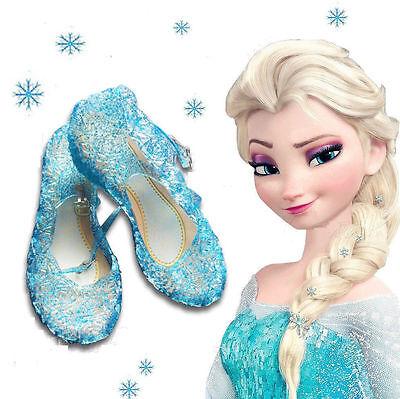 Kinder Mädchen Frozen Eiskönigin Elsa Sandalen Prinzessin Karneval Kostüm (Blaue Pailletten Prinzessin Kostüm)