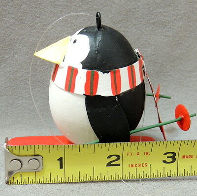 Christmas Ornament Zoo Penguin on Skis W/ Poles & Scarf 3""