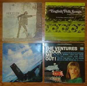 Record-Albums-Qty-4-Neil-Young-English-Folk-The-Ventures-Three-Dog-Night