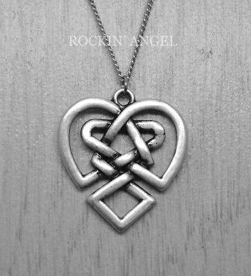 - 925 Antique Silver Plt Celtic Heart Knot Pendant Necklace, ladies Gift
