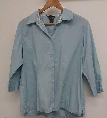 Van Heusen Blue Blouse Size L <J4736