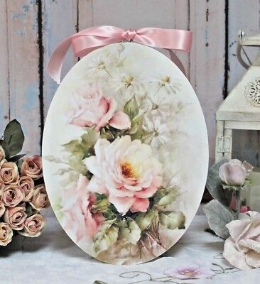 "Shabby Chic ~ Outback ~ Cottage style ~ Wall Decor Sign ~ ""Peach Summer Roses"""