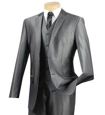 Men's Gray Sharkskin 3 Piece 2 Button Slim Fit Suit w/ Matching Vest NEW