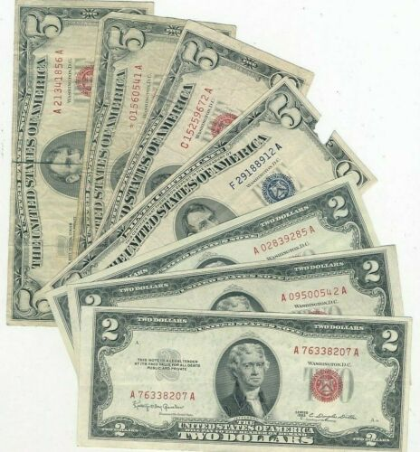 MIXED LOT (7) $2 & $5 SILVER CERT/RED SEAL U.S. NOTES/STAR/2 CRISP UNC! FREE S/H