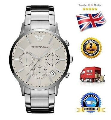 NEW Emporio Armani AR2458 Men's Stainless Steel Quartz White Silver Dial Watch