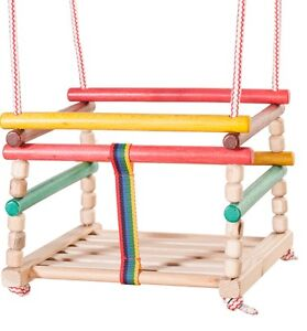 Babyschaukel  Kinderschaukel Gitterschaukel Retro Holz Schaukel zum aufhängen*