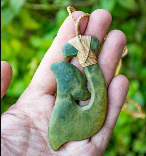 HUGE MATAU PENDANT, Hand carved in Natural Flower Jade, Original Maori Craft